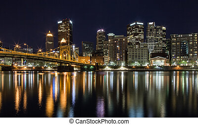 Pittsburgh Skyline at Night - Pittsburgh, Pennsylvania...