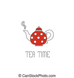 Polka dots teapot with tea on white background. Teatime text mes