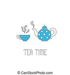 Polka dots tea pot and cup on white background.