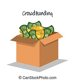 crowd funding concept icons vector illustration design