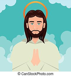 Jesus christ prayer ascension design vector illustration eps...