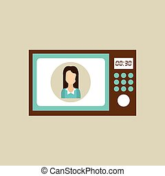 microwave appliance kitchen icon woman design