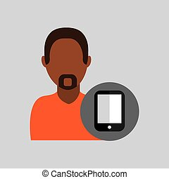 man african technology smartphone icon design graphic...