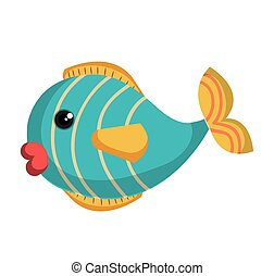 cute fish colors isolated icon vector illustration design
