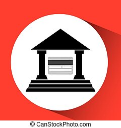 silhouette building bank card credit debit icon over red...