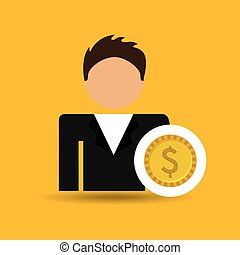 character man currency coins money icon vector illustration