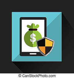 smartphone bag money protection icon vector illustration eps...