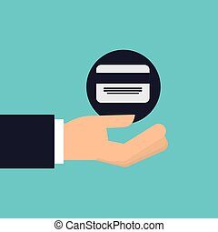 hand holding icon credit card design isolated