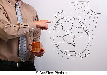 Man pointing to a diagram - Man in a shirt and a tie...