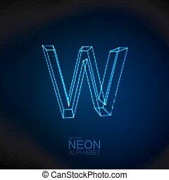 Neon 3D letter W