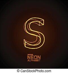 Neon 3D letter S