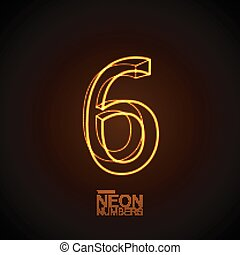 Neon 3D number 6. Typographic vector element for design....