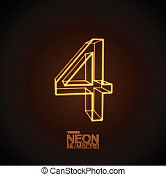 Neon 3D number 4. Typographic vector element for design....