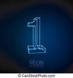 Neon 3D number 1