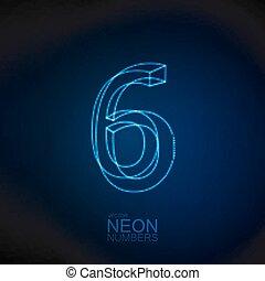 Neon 3D number 6. Typographic element. Part of glow neon...