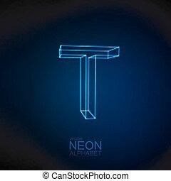 Neon 3D letter T