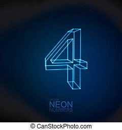 Neon 3D number 4. Typographic element. Part of glow neon...