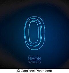 Neon 3D number 0