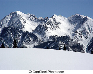 Stark - Cold snow capped peaks of the Colorado Rocky...