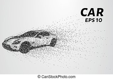 Car from the particles. Car crumbles into small dots and...