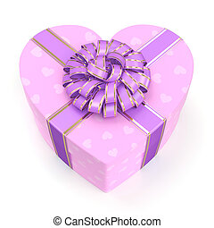 3D rendering Pink box heart - 3D rendering Pink boxe with...