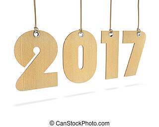 3D rendering 2017 New Year digits on white background