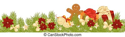Merry Christmas Card of Gifts on White Background. Vector...