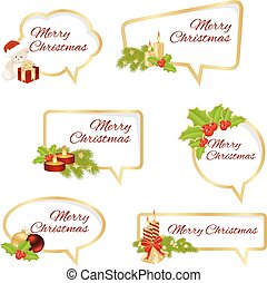 Merry Christmas Text Isolated on White Background. Vector...