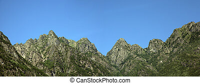 mountains in the summer with blue sky