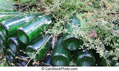 original flowerbed of glassbottles - the original flowerbed...