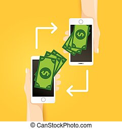 smartphone processing of mobile payments - Flat design style...
