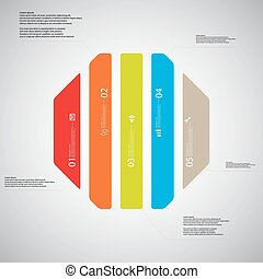 Octagon illustration template consists of five color parts...