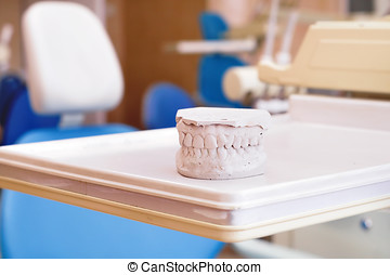 Gypsum dentures and dental chair equipment , dental clinic...