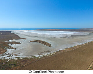 Saline Salt Lake in the Azov Sea coast. Former estuary. View...