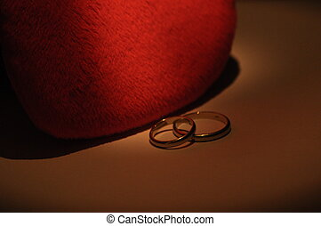 Gold wedding rings. Certificate and a symbol of marriage. Relationship. Love and trust.