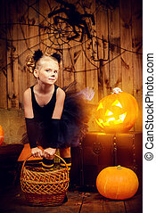 decoration halloween - Lovely little girl in a costume of...