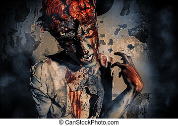 doomsday zombie - Bloody zombie man with brains out. Horror....