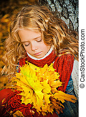 herbarium girl - Pretty girl with a bunch of yellow leaves...