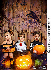 kids halloween - Group of joyful children in halloween...