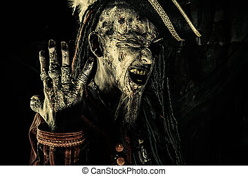 pirate shows rings - Horror novel character. Aggressive...