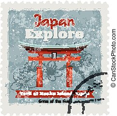Template in the Japanese style - Vector illustration of...