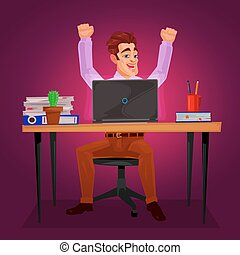 Male worker triumphantly raised his hands - Vector...