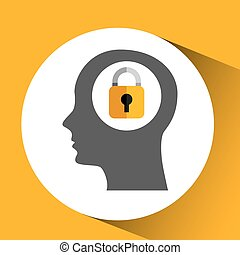 silhouette head with padlock security icon