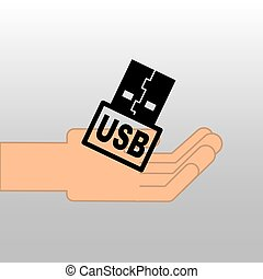 USB memory backup icon design vector illustration eps 10