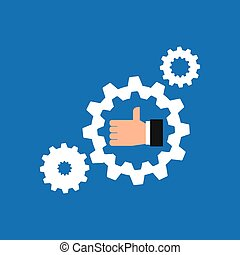 like hand icon with gear work icon vector illustration
