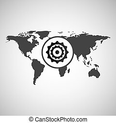 world map icon - world map with gear icon, vector...