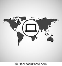 world map icon - world map with laptop icon, vector...