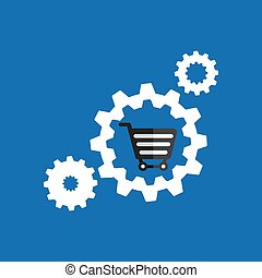 set gear cart shopping buy online icon