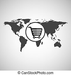 world map icon - world map with shopping cart icon, vector...