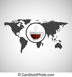world map icon - world map with tea icon, vector...